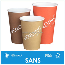 SANS 7.5 8.25 10 12oz Hot Drink Single Wall Vending Machine Paper Cups for Coffee
