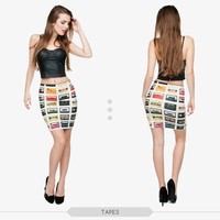 Women's fashion girls tight hot mini skirt high quality 3d digital full print custom hot sale tube stretchy summer skirt