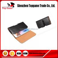 Black leather belt clip flip wallet case for 3.5~ 6.3 inch cell phone