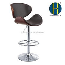 2015 NEW Commercial Swivel Wood Moon Bar Chair/Bar stool/Bar Stools China with Black seat with Wooden Seat and Backrest