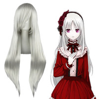 wholesale 80CM long straight silver white FINAL FANTASY-Sephiroth anime cosplay hair wig