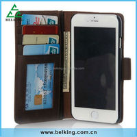Multi-function Wallet Design Genuine Leather Case for iphone 6 Crazy Horse Pattern