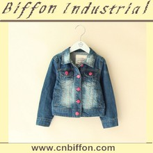 2015 Latest children girls denim coat long sleeve jeans coat for spring BF053