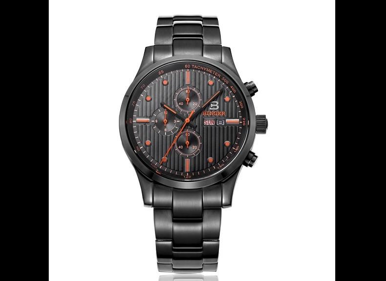 Бингер Новый 100 М Водонепроницаемый Кварцевые часы Мужские Спортивные наручные часы Dual Time Часы Военный Кварц Секундомер Нержавеющей Стали