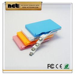 Durable factory direct aluminum credit card power bank1500mah