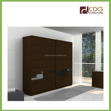 Sliding design wardrobe in the wall, bedroom wardrobe Timber Tobacco colour