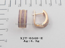 2015 Wuzhou Factory amethyst and white cz earring jewelry