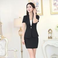 WT408 Summer Ladies Office Wear 2 Piece Ladies Office Skirt Suit Wholesale Women Suits