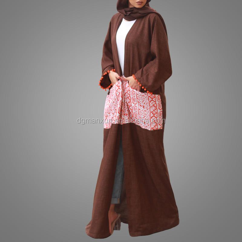 2017 fashion design printed pattern abaya dubai open linen abaya kimono muslim dress with pockets (3).jpg