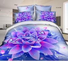 Bright color Purple Flower Bedding Sets