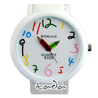 hot sale cartoon colored number 9 colors leather strap precise quartz movement womage fashion pencil pointer watch