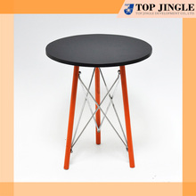 Brightly Orange Foot Stool Round Wood Intricate Detail Coffee Table