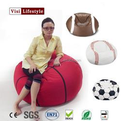 Football,basketball, and soccer ball shape bean bag chair cheap bean bag cover factory sports bean bag