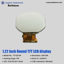 New developing 1.22 inch circular lcd round display for smart watch with capacitive touch screen
