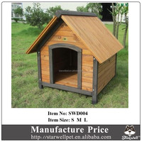 Comfortable solid roof outdoor wooden dog house