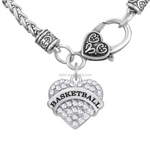 Basketball Hearts Jewelry Lobster Claw Wheat Link Chain with Large Clasp crystal heart Necklaces