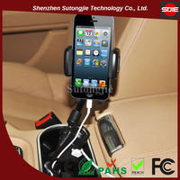 universal car holder adapter with charging 2.1A(1A+1A) smartphone charger for iphone holder 2 port usb car charger