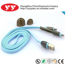 wholesale colorful usb charging cable for iphone 5 ,2 in 1 micro usb cable for samsung Galaxy S4