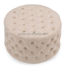 Round Ivory living room furniture footstool Ottoman GK5005