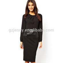 Largo o manga- cuello slim fit nueva con vestido de color sólido