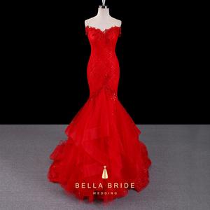 Женские свадебные вечерние красные плиссированные классическое вечернее длинное платье с рюшами «рыбий хвост»