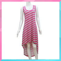 Ladies fashion sleeveless stripe printed dress for woman