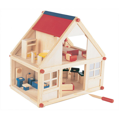Children Diy 2-storey Wooden Toy Colorful Doll House With Furniture ...