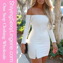 womens clothing fall 2015 Sexy Off-shoulder Zipped Slit White Mini Dress