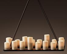 18 Lights Contemporary Pillar Candle Rectangular Chandelier