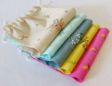 Drawstring Cotton LIngerie Storage Bag With Rhinestone
