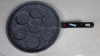 Aluminum pressed marble stone 7 holes cups egg frying grill pan pancake detachable removeable bakelite handle