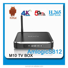 2015 newest M10 Amlogic S812 android tv box 2gb ram 2.4G/5G external WIFI+BT kodi fully loaded adoons better than digixstream