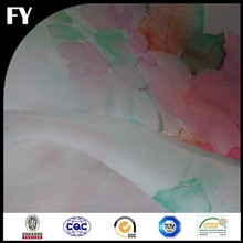 high quality floral painting 100 pure silk organza fabric