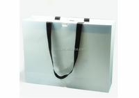 White matt lamination paper shopping bag ribbon handle paper gift bag