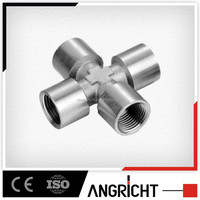 B427 PFC type brass / stainless steel 4-way cross pipe fitting