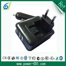 New design foldable EU plug car charger with 2 USB port