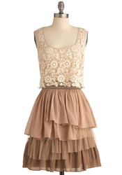 CHEFON Lace overlay tiered tan lace glamour designer one piece party dress
