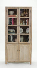 Antique Home useful living room and Study room Wooden and Glass Tall display cabinet (DT-992-OAK)