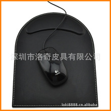 Shenzhen factory-made high-end PU leather office supplies arc pad wrist pad mouse pad elegant black mat