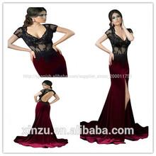 sexy de manga corta negro de encaje falda burdeos raja lado de terciopelo sirena vestido de noche 2014