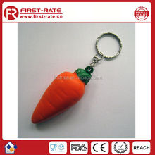 Carrot pu stress ball with keychain