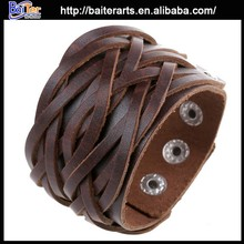 Fashion mens leather bracelet wholeslae, braided leather bracelet for men, handmade genuine leather bracelet wholesale