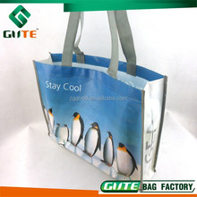 Cute Penguin Waterproof shopping bag laminated Non woven tote bag recyclable