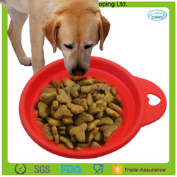 Portable travel use pure silicone collapsible travel dog bowl with a carabiner