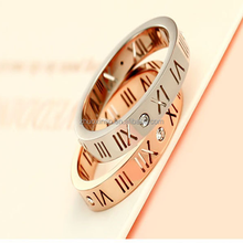 Silver&18 k rose gold Roman numerals couples diamond ring for girls,roman number rings