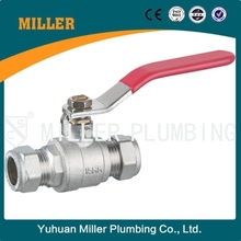 MILLER 1 inch red lever handle high presssure brass ball valve with compresssion ml-2021