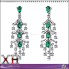 Cool Elegence 925 Sterling Silver Emerald Diamond Chandelier Earrings
