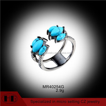 2.9 Gram Black Plated Factory Direct Sale Fashion Silver Open Turquoise Rings