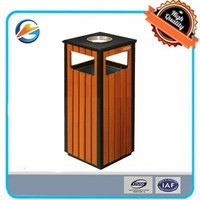 Outsoor Park dustbin with ashtray Stainless Steel wooden waste bin