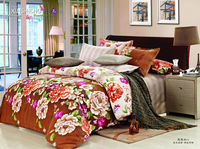 100% cotton big peony flowers printing american size bed sheet set